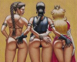 3girls anus ass back_view camel_toe crossover dat_ass edithemad female female_only hand_on_ass kitana looking_at_viewer mortal_kombat princess_leia_organa princess_peach star_wars super_mario_bros. thong