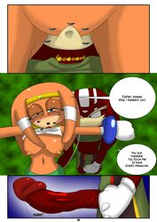 anthro blue_eyes breasts clothing comic cunnilingus dialog echidna female from_behind incest licking oral oral_sex penis pussy sega sex skirt sonic_(series) text tikal_the_echidna tongue vaginal_penetration