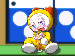 anus blush breasts censored collar doraemon dorami drooling female looking_at_viewer open_mouth pussy sachikun2yan saliva sitting small_breasts solo spread_pussy spreading tongue tongue_out young