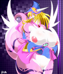 big_breasts blonde_hair blush breasts chubby clothed clothing dark_magician_girl dragon female hair half-dressed hat horn pentagram pussy pussy_juice skirt skirt_lift solo tattoo transformation tribal_tattoo undressing wet_pussy yellow_eyes ymbk yu-gi-oh!