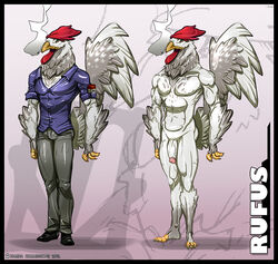 2013 abs anthro avian bad_breath beak biceps cancer cigarette clothing feathers hollandworks kamina1978 male male_chicken male_only model_sheet muscles nude penis shoes smoking solo spots standing yellow_eyes