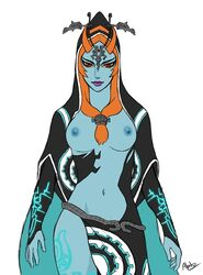 1girl areolae breasts drakyx dress female long_hair midna navel neon_trim nipples orange_hair red_eyes solo standing the_legend_of_zelda topless twili_midna twilight_princess yellow_sclera