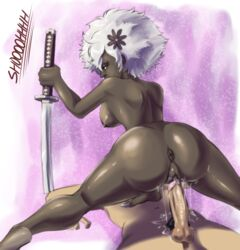 afro anus arm_support ass breasts dark-skinned_female dark_nipples dark_skin dat_ass female flower hair_flower hair_ornament hair_over_one_eye imminent_sex imminent_vaginal interracial katana looking_back male nipples no_more_heroes nude penis planted_sword planted_weapon pubic_hair purple_eyes pussy pussy_juice shinobu_jacobs shoooohhhh sideboob solo_focus spread_legs sword testicles weapon white_hair