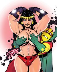 badattitudeink big_barda boob_grab dc justice_league large_breasts mister_miracle muscles topless