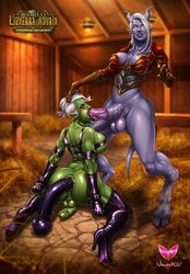 anal anal_juice anal_penetration anus armor ass barn big_breasts big_penis blow_job blowjob blue_skin bondage bound chained cleavage clenched_fists curvy dangling_testicles dildo draenei drool excessive_anal_juice fellatio flaccid forced forced_fellatio futa_on_futa futadom futanari gloves green_skin hay head_grab heels high_heels hips horns horsecock huge_insertion huge_penis huge_testicles interspecies large_penis latex lizyerra_adyria looking_at_viewer monster_girl muscle_tone nejura orc pointless_armor pointy_ears purple_skin restrained saliva saliva_drip shemale sideboob steath tail taint testicles thick_thighs thighhighs tied tied_up toy vincentcc white_hair world_of_warcraft wow yellow_eyes
