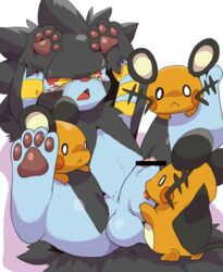 4_toes :< ambiguous_gender ass balls big big_ears black_fur blue_fur blue_penis blush censored crying cum cum_on_penis cute dagasi dedenne erection fellatio feral feral_on_feral foursome fur group licking looking_at_viewer looking_down luxray male mouse nintendo open_mouth oral oral_sex orange_fur pawpads paws penis plain_background pokemon precum raised_leg red_eyes rodent sex shadow shiny size_difference standing sweat tears tongue tongue_out video_games whiskers white_background white_eyes white_fur yellow_eyes yellow_fur