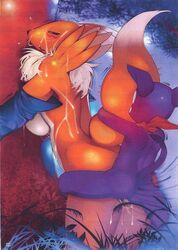anthro big blush breasts cum difference digimon doggy face female female_fox fox fur furry furry_only gloves imp impmon inside interspecies male mouth open penetration position renamon sex side size standing straight vaginal_penetration