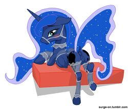 2016 anus clothing cushion dock equine female feral friendship_is_magic horn horse lingerie looking_at_viewer looking_back mammal my_little_pony pony princess_luna_(mlp) pussy raised_tail rear_view simple_background solo surge-on unicorn