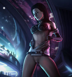 black_hair female justabout mass_effect miranda_lawson pinup solo source_filmmaker uncensored