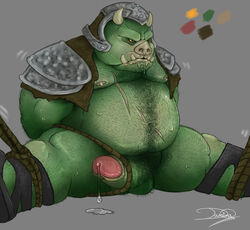 alien anthro armor balls beast belly biceps big_penis boar bondage bound chest_hair chubby clothing cum cum_drip damingo dripping drooling erection facial_hair fangs fur furry gamorrean gamorrean_guard gay hair hairy horn male male_only muscles musk nipples nude overweight pecs penis pig plain_background porcine precum pubes saliva scar solo star_wars sweat teeth tusk twitching wet