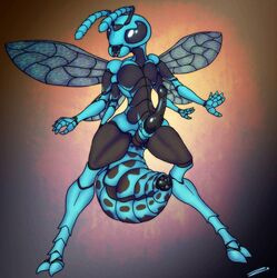 1girl abdomen anatomically_correct antennae anus arthropod black_penis compound_eyes digitigrade erection exoskeleton insects mandibles multiple_arms no_nipples ovipositor penis pussy riocynn solo wasp wide_hips wings zevex