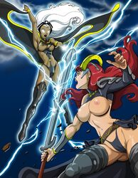 2girls areola big_breasts breasts cape claudette crossover dark-skinned_female dark_skin dovianax electricity fight green_eyes high_heels large_breasts leotard long_hair marvel nail_polish night open_mouth queen's_blade red_hair sky storm sword thighhighs thong tiara torn_clothes white_eyes white_hair wristband x-men