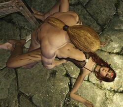 3d anal blush bottomless cowgirl earrings elf flat_chest freckles lying penis red_hair sex skinny skyrim solo_focus tattoo