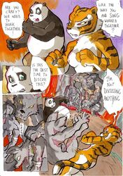 2014 anthro ass balls bear better_late_than_never big_breasts blush breasts comic daigaijin dialog english_text erection feline female fight kung_fu_panda male mammal master_tigress muscles nude panda penis po punch pussy rat rodent text tiger vein