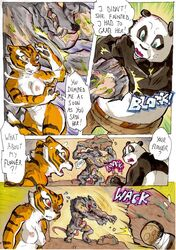 2014 anthro areola ass balls bear better_late_than_never big_breasts blush breasts comic daigaijin dialog english_text erect_nipples erection feline female fight kung_fu_panda male mammal master_tigress muscles nipples nude panda penis po punch pussy rat rodent text tiger vein