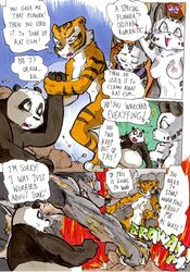 ass comic daigaijin dialog english_text erect_nipples erection feline female fight furry furry_only kung_fu_panda male mammal master_tigress muscles nipples no_humans nude panda penis po punch pussy rat rodent text tiger vein