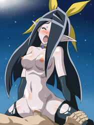 areolae black_hair blush breasts censored closed_eyes cowgirl_position dinosaur_king elbow_gloves female hair_over_one_eye highres large_breasts legs long_hair lying mihasa mosaic_censoring navel night nipples nude open_mouth penis pointy_ears pussy sex sitting sitting_on_person sky solo_focus stars sweat thighs vaginal_penetration wanderer_(furafuradou)
