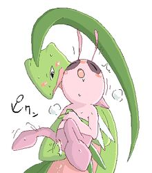 blush celebi duo female feral finger_fuck fingering grovyle male nintendo open_mouth pokemon pokemon_mystery_dungeon shiny_pokemon size_difference straight sweat unknown_artist vaginal_penetration video_games