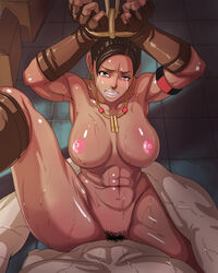 abs areola armband arms_tied artist_request breasts capcom clenched_teeth dark_skin dark_skinned_female fingerless_gloves interracial large_breasts nipples nude pov pubic_hair rape resident_evil resident_evil_5 sheva_alomar straddle sweat tears