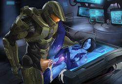 armor black_hair blue_skin breast_grab breasts cortana cum cum_in_pussy cum_inside female halo_(series) hologram huge_cock leg_up male master_chief microsoft nipples open_mouth penis sex short_hair spread_pussy thriller vaginal_penetration