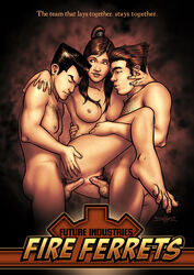 anal ass avatar_the_last_airbender black_hair bolin breasts dark_skin double_penetration female human korra mako male nineself nipples nude penis ponytail pussy sex straight the_legend_of_korra threesome vaginal_penetration