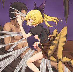 1boy 1girl areola arms_behind_back blindfold blonde_hair blush bondage bow boy_rape breasts breasts_outside brown_dress brown_eyes clothed_female_nude_male clothed_sex dra dress dridder extra_legs female femdom hairbow hand_on_head insect_girl kissing kurodani_yamame malesub monster_girl nipples partially_undressed penis ponytail rape restrained saliva saliva_trail short_hair sitting sitting_on_lap sitting_on_person smile spider_girl spider_web straight touhou
