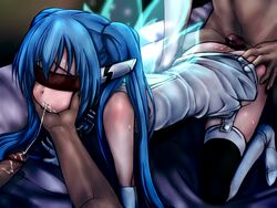 bed blindfold blue_hair color cum cum_in_mouth cum_on_ass cum_string elbow_gloves gangbang gloves human long_hair nymph_(sora_no_otoshimono) penis sora_no_otoshimono twintails very_long_hair