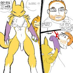 balls blood blue_eyes breasts chest_tuft darkdoomer dickgirl digimon fur gloves hair human intersex navel nipples patachu penis punch renamon translation_request tuft white_fur