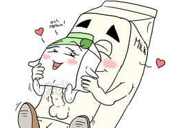 4chan balls blush food_groupie happy happy_sex huge_cock love mascot melvin_milk milk milk_carton penis personification reverse_cowgirl_position sex size_difference straight