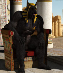 2014 3d abs amber_eyes ankh anthro anubis balls biceps big_muscles big_penis black_fur black_howler canine cgi deity drooling egyptian erection fur jackal looking_at_viewer male mammal muscles pecs penis pillar precum saliva sitting solo tattoo temple thick_penis throne