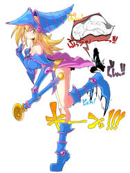 blonde_hair blush_stickers boots breasts dark_magician_girl duel_monster female fingerless_gloves gloves green_eyes groin_kick hat highres large_breasts penis space_jin testicles wand witch_hat yu-gi-oh!