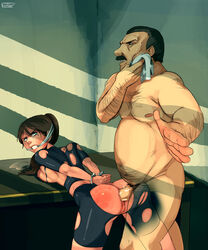 1boy anal anger arms_behind_back blood bondage brown_hair chief_irons claire_redfield cleave_gag cuffs fat_man female gag game_over handcuffs helpless highres polyle pussy rape resident_evil restrained saliva spanked sweat tears torn_clothes uncensored