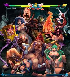 5girls 6boys abs akuma alien anal animal_ears arm_grab arms_up biting_lip blank_eyes blue_hair blush boots bottomless breasts breasts_outside bridal_gauntlets brown_eyes brown_hair capcom cat_ears cheek_bulge chun-li claw_(weapon) claws clenched_teeth cowgirl_position crisisbeat crossover cum cum_in_ass cum_in_mouth cum_in_pussy cum_inside darkstalkers deadpool dormammu double_bun drool fantastic_four felicia fellatio fiery_hair fingerless_gloves gloves green_eyes green_hair green_skin group_sex head_wings interspecies jean_grey leg_grab long_hair machine marvel marvel_vs_capcom marvel_vs_capcom_3 modok monster morrigan_aensland multiple_boys multiple_girls nipples open_clothes open_mouth oral orgy outdoors pantyhose phoenix pointy_ears prayer_beads rape red_eyes red_hair ryuu_(street_fighter) saliva spiked_bracelet spitroast street_fighter super_skrull tears tentacle top-down_bottom-up torn_clothes vaginal_penetration vampire_(game) white_eyes wings x-23 x-men