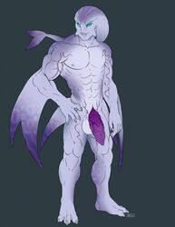 2014 balls genital_slit green_eyes hand_on_hip iggi looking_at_viewer male male_only marine muscles nipples no_humans original_character penis scalie solo standing tail_fin the_legend_of_zelda thick_penis vein veiny_penis video_games zora