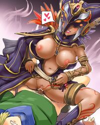 boris_(noborhys) bottomless boy_rape cia_(the_legend_of_zelda) clenched_teeth clothed_sex cowgirl_position femdom grin hyrule_warriors jewelry link malesub mask nintendo piercing rape sex smile straddle straddling straight sweat tattoo the_legend_of_zelda
