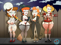 4girls areola beverly_binford blonde_hair breasts breasts_out brown_hair cyan_eyes dexter's_laboratory dexter's_mom family_dog fat_mons female female_only gladys green_eyes halloween heels high_heels hips huge_breasts human johnny_test large_breasts large_nipples licking_lips lila_test lip_bite looking_at_viewer milf multiple_females nipples orange_hair perky_breasts pubic_hair the_grim_adventures_of_billy_and_mandy thick_thighs thighhighs thighs whargleblargle wide_hips