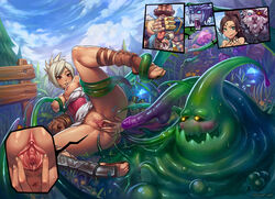 anus ass blush bottomless braum breasts clitoris close-up consensual_tentacle_sex dark_skin feet groping jinx large_breasts league_of_legends leg_lift monster nidalee nipples no_panties on_back poro presenting pussy pussy_juice rengar riven shaved_pussy shoes shyvanna smile speh spread_pussy sweat tan tanned tentacle toe_scrunch toeless_legwear toes uncensored upskirt urethra zac