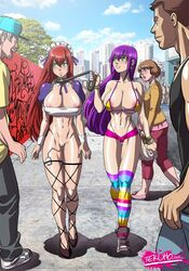 big_breasts bursting_breasts collar huge_breasts humiliation large_breasts leash long_hair micro_bikini partially_clothed public_humiliation purple_hair shaved_pussy skimpy slave tekuho thighhighs vibrator