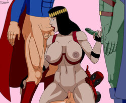big_barda blowjob breasts crossover dc deadpool female justice_league male martian_manhunter marvel superman twigzem