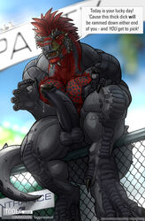 anthro argonian avoid_posting balls claws dialog fence horn muscles pecs penis precum scalie scar tagg taggcrossroad text the_elder_scrolls todex video_games