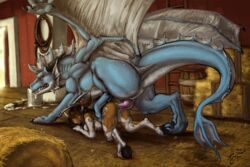 2014 anthro anthro_on_feral barefoot blue_dragon bovine feral hooves interspecies karukuji mammal nude size_difference tauren video_games warcraft wings world_of_warcraft zoophilia