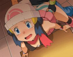 animated animated ass blue_eyes blue_hair bracelet dawn_(pokemon) doggy_style gloves panties panties_aside pokemon ryunryun satoshi_(pokemon) sex skirt striped_panties tears torso_grab