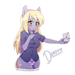 anthro derpy_hooves friendship_is_magic my_little_pony panties shellahx solo striped_panties