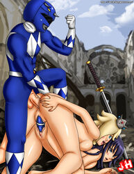 ass billy_cranston bisexual black_hair blonde_hair crossover dildo doggy_style female highschool_of_the_dead john_hollow male penis power_rangers princess_rosalina pussy saeko_busujima sex super_mario_bros. testicles threesome vaginal_insertion