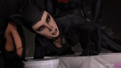 2boys animal_ears animated balls batman batman:_arkham_city bent_over bodysuit catwoman cleavage clothed_sex cum cum_drip cum_on_face cum_on_hand dc doggy_style from_behind helmet leeterr looking_at_viewer looking_back makeup nightwing open_mouth penis source_filmmaker video_game
