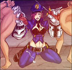 2boys alternate_costume ass barefoot belt bent_over boots breasts cleavage cuffs cum cum_on_clothes dick_hammersmith ejaculation female femdom gauntlets kneeling league_of_legends leaning_forward midriff multiple_boys parted_lips penis pink_hair police police_hat police_uniform policewoman short_hair squeezing tattoo vi