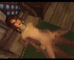 3d anal blush cowgirl earrings elf flat_chest freckles lying penis red_hair sex skinny skyrim solo_focus tattoo