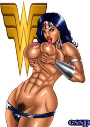 abs areola armband blue_eyes blue_hair breast_licking collar cssp curvy dc gauntlets huge_breasts long_hair muscle muscular_female nipples pubic_hair simple_background solo standing tiara tongue tongue_out wonder_woman