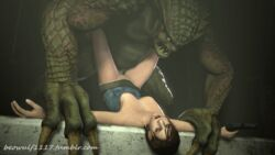 2014 3d animated areola beowulf1117 big_breasts breasts cgi erect_nipples erection female forced gun human jill_valentine male mammal monster nipples penetration penis ranged_weapon rape resident_evil sex source_filmmaker weapon
