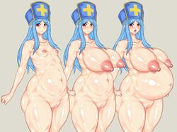 1girl angry areolae armpits bangs blue_hair blush breasts clenched_fists curvy dragon_quest dragon_quest_iii embarrassed fat_mons female flat_chest gigantic_breasts hat heavy_blush hips huge_areola huge_breasts huge_nipples inverted_nipples large_areola large_breasts large_nipples long_hair looking_away nipples nude open_mouth pale_skin perky_breasts pink_eyes plump pregnant priest priest_(dq3) pussy smile solo thick thick_thighs vagina wide_hips
